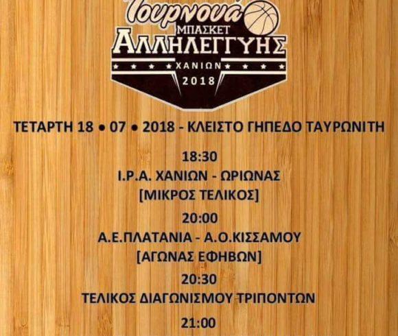 """"""" 7ο Τουρνουά Μπάσκετ Αλληλεγγύης"""" στο κλειστό Γυμναστήριο Ταυρωνίτη – Δήμου Πλατανι"""